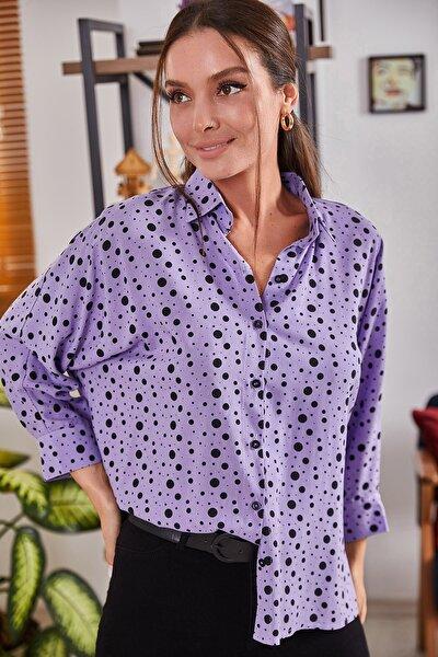 Kadın Lila Puanli Salaş Gömlek ARM-21Y001072