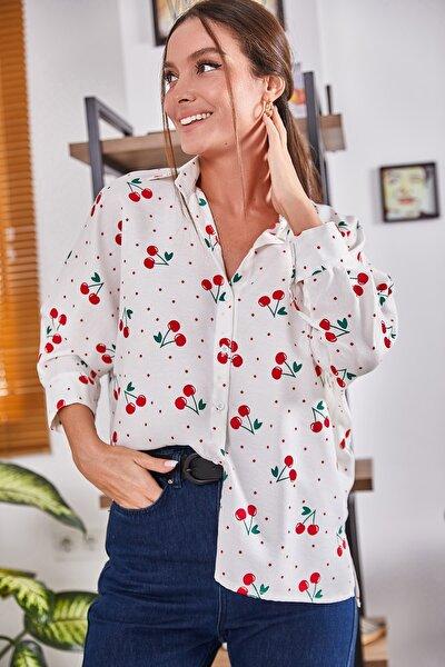 Kadın Beyaz Büyük Puanli Kirazli Salaş Gömlek ARM-21Y001075