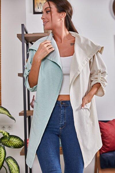 Kadın Mint İki Renkli Salaş Ceket ARM-21Y001078