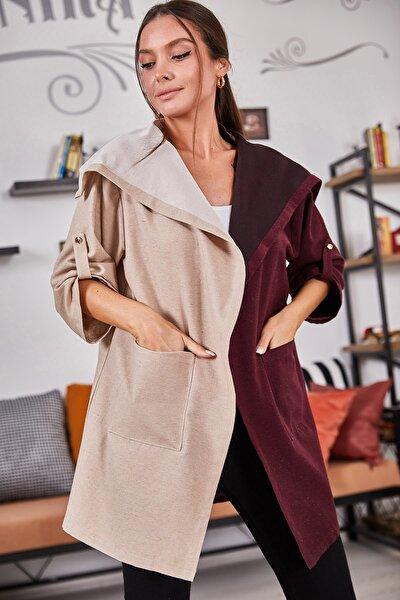 Kadın Bordo İki Renkli Salaş Ceket ARM-21Y001078