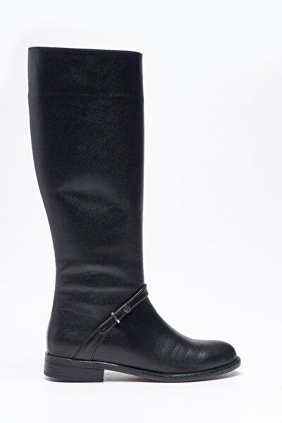 Agave Siyah Hakiki Deri Kadın Çizme