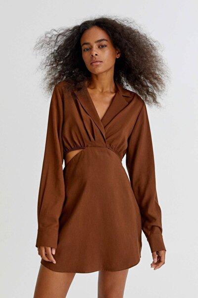 Pencere Detaylı Kısa Gömlek Elbise