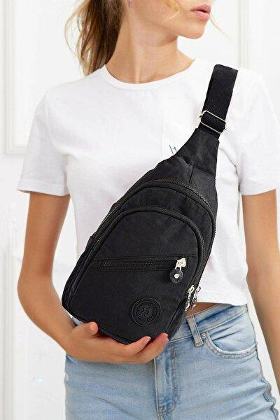 Unisex Siyah Su Geçirmez Krinkıl Çapraz Askılı Bel Omuz Çanta Göğüs Seyahet Günlük Bodybag