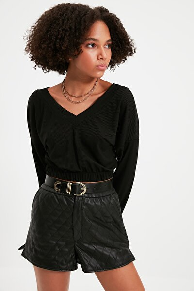 Siyah V Yaka Örme Bluz TWOAW21BZ0546