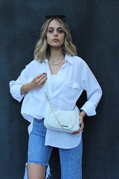 Kadın Beyaz Zincirli Saten Çanta
