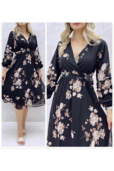Şifon Kumaş Astarlı Çiçek Desenli Elbise