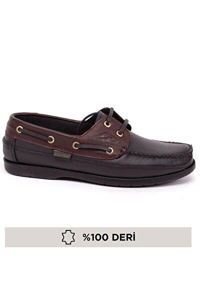 Erkek Siyah Bordo Bağcıklı Hakiki Deri Günlük Ortopedik Loafer Ayakkabı