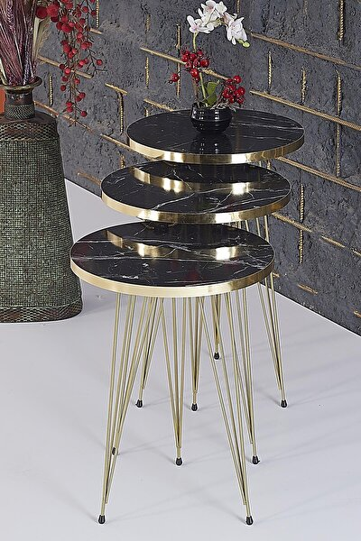 Rupon Home 3 Lü Zigon Sehpa- Yuvarlak Siyah Mermer Desenli Gold Metal Ayak
