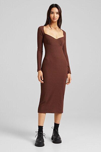 Kadın Kahverengi Uzun Kollu, Kalp Yaka Ve Fitilli Midi Elbise