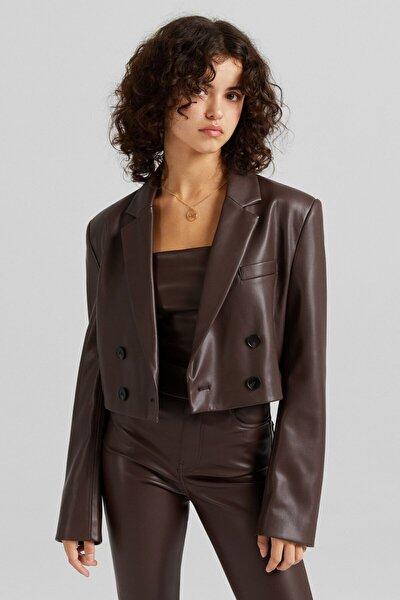 C. Tangana X Bershka Kadın Kahverengi Crop Suni Deri Blazer