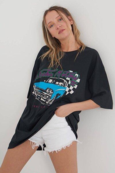 Oversize Baskılı T-shirt P9344 - D8