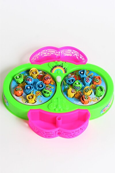 Mıknatıslı Kurmalı Balık Tutma Oyunu - Sepetli Pembe Yeşil