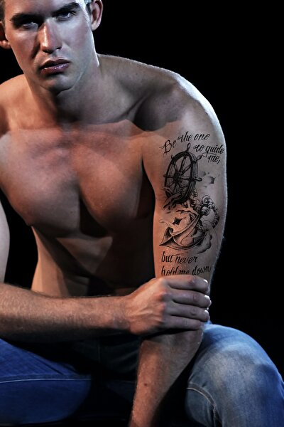 Gerçekçi Geçici Denizci Çapa Dövme Tattoo