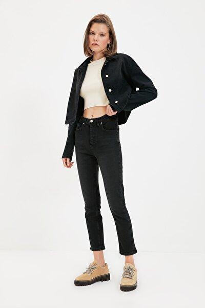 Siyah Yüksek Bel Slim Fit Jeans TWOAW22JE0787