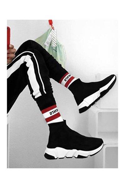 Unisex Siyah Çoraplı Yüksek Taban Sneaker