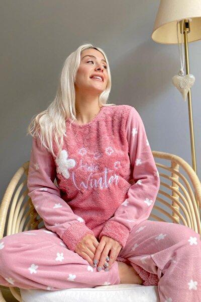 Pembe Hello Winter Desenli Kadın Peluş Pijama Takımı