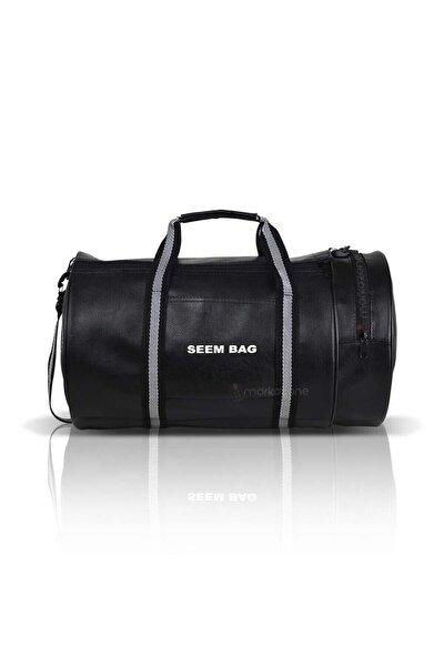 Seem Bag Silindir Spor Fitness Çantası Askılı Siyah