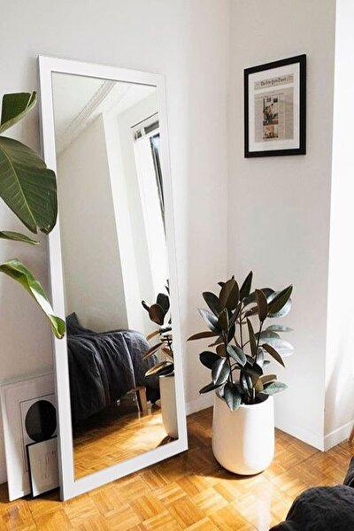 Beyaz Ahşap Dekoratif Retro Boy ve Duvar Aynası 150 X 58 cm