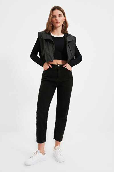Siyah Petite Yüksek Bel Mom Jeans TWOSS21JE0474