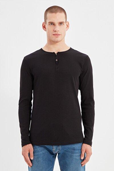 Siyah Erkek Slim Fit Uzun Kollu Düğmeli Yaka T-Shirt TMNSS20TS0002