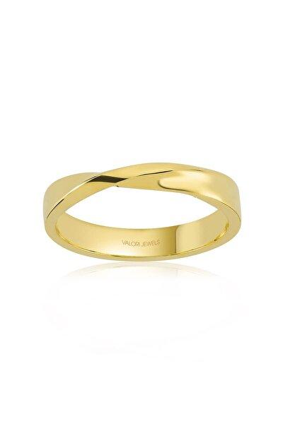 Kadın Altın Rengi Aşk Bağı Gümüş Yüzük