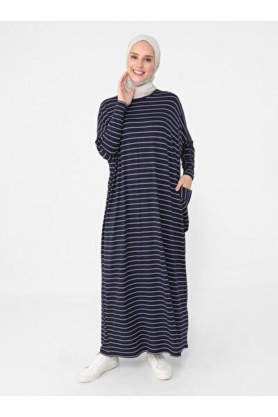 Kadın Lacivert Cep Detaylı Çizgili Elbise