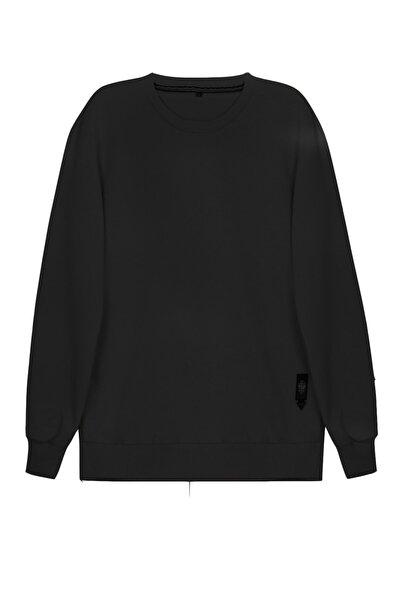 Erkek Siyah Basic Bisiklet Yaka Düz Rahat Sweatshirt