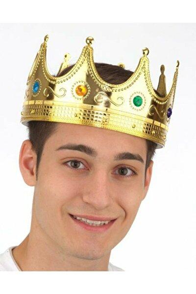 Gold Yetişkin Kral Tacı Sert Plastik Altın Rengi 55 cm