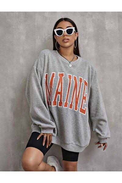 Kadin Gri Maine Oversize Sweatshirt
