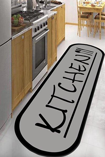 Dijital Baskılı Kaymaz Taban Yıkanabilir Kitchen Yazılı Mutfak Halısı 80 x 350