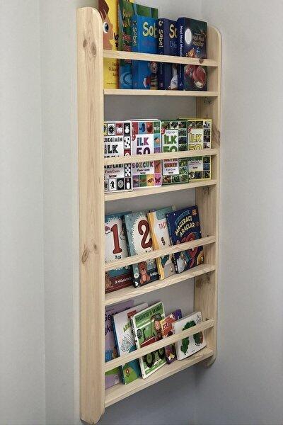 Montessori Çocuk Odası Kitaplığı Ahşap Ham Verniksiz Doğal Kitaplık 100*50*9