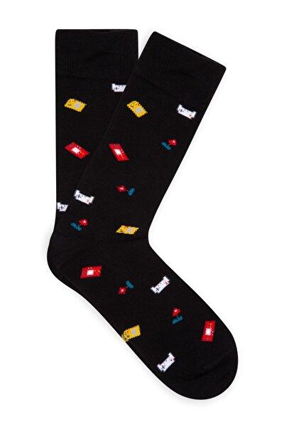Erkek Gameboy Desenli Siyah Çorap 092711-900