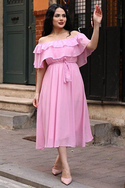 Pembe Madonna Fırfır Yaka Büyük Beden Şifon Elbise