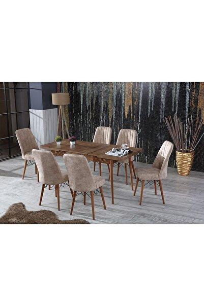 Perla Çizgili Ceviz Yemek Masası Mutfak Masası Açılır Masa Takımı 6 Sandalyeli Açık Cappucino