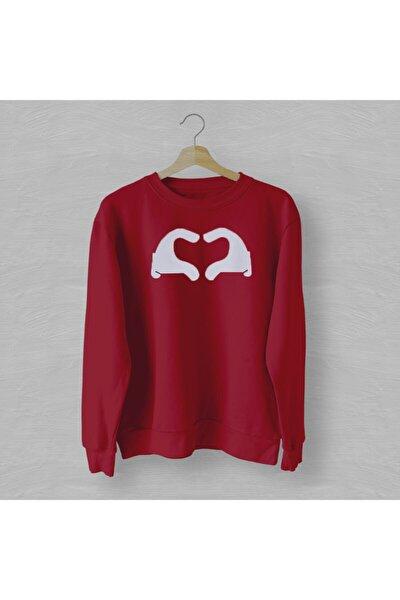 Avuç Kalp Kırmızı Sweatshirt