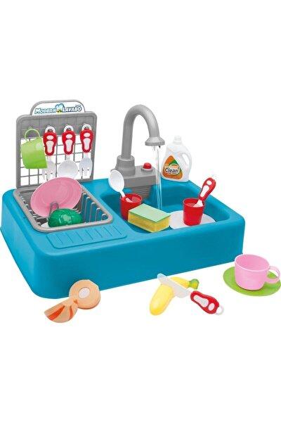 Modern Çeşmeli Lavabo Seti Mavi Pilli Mutfak Oyuncak Seti