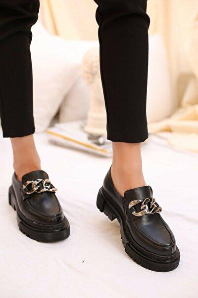 Kadın Günlük Siyah Loafer Zincir Detay Ayakkabı