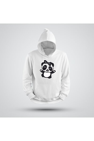 Kapşonlu Mutlu Panda Sweatshirt