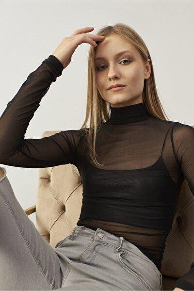 Kadın Siyah Tül Transparan Bluz