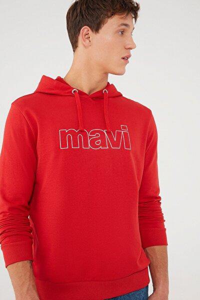 Erkek Kapüşonlu Kırmızı Sweatshirt 065606-34535