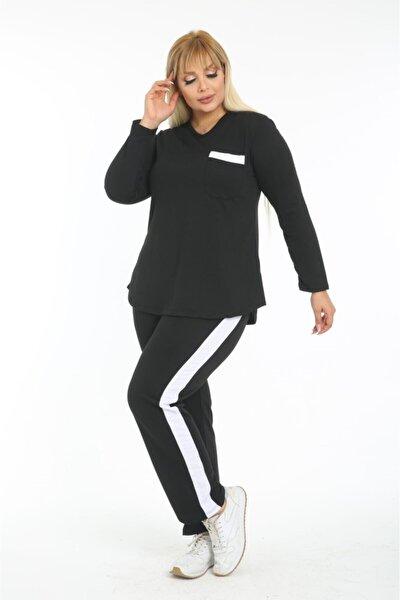 Kadın Büyük Beden Siyah Beyaz Cep Şerit Eşofman Takımı