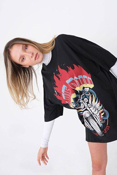 Oversize Baskılı T-shirt P9590 - D9