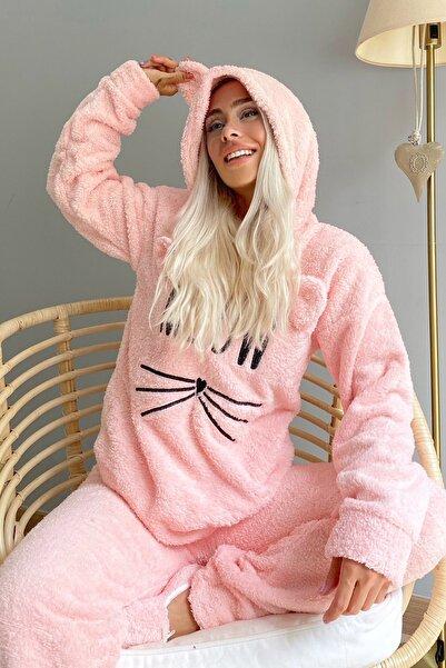 Meow Desenli Tam Peluş Pijama Takımı