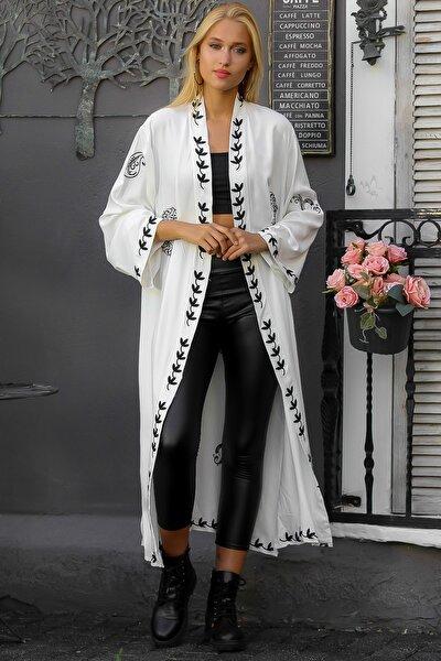 Kadın Beyaz Mandala Nakışlı Yanları Yırtmaçlı Kuşaklı Dokuma Uzun Kimono M10210400KM99862