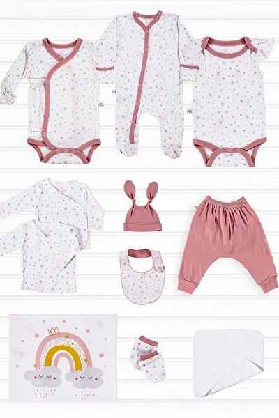 Ultra Yumuşak 11 Parça Kız Bebek Hastane Çıkışı Seti 0-3 Ay Organik Tencel Bambu Pink Star