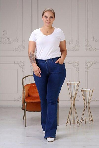 Kadın Yüksek Bel Yarım Ispanyol Paça Kot Pantolon