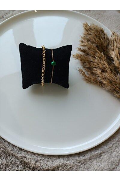 2li Kadın Gold Zincir Bileklik Yeşil Boncuk Detaylı