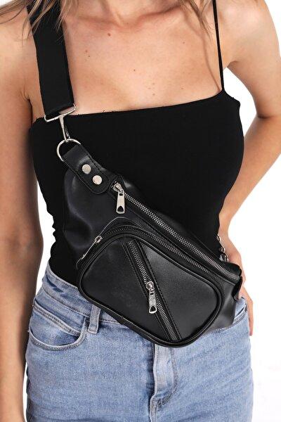 Kadın Siyah Bel Ve Çapraz Çanta