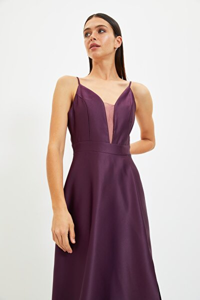 Mürdüm Bağlama Sırt Detaylı Abiye & Mezuniyet Elbisesi TPRSS20AE0061