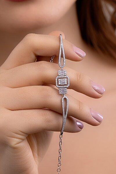 Kadın Baget Taşlı Gümüş Bileklik